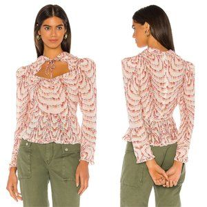 Divine Heritage Ivory Ditsy Floral Collar Blouse